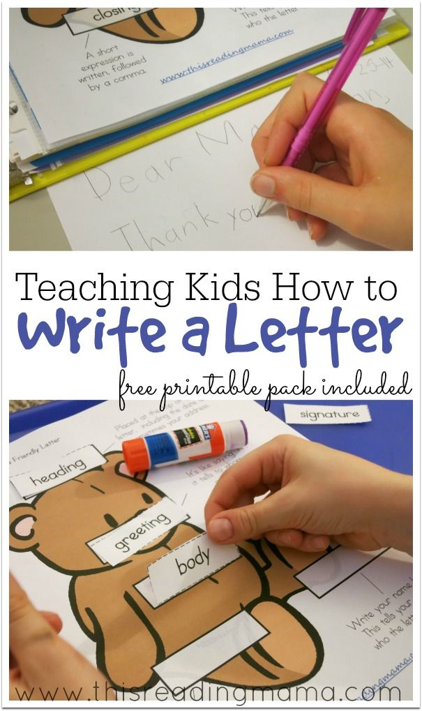 Teaching Kids How to Write a Letter {free printable pack}| This Reading Mama