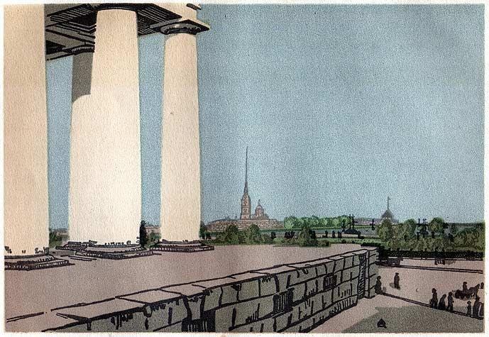 А. Остроумова-Лебедева, 'Колоннада Биржи и Петропавловская крепость' (грав. на дер., 1907)