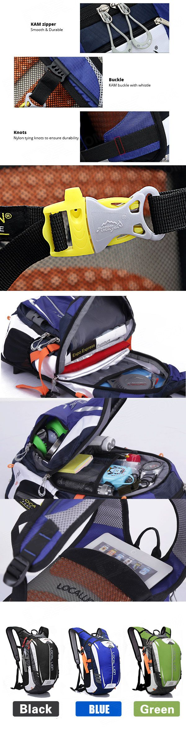 LOCAL LION Outdoor Cycling Double Shoulder Backpack Bag - Blue + Black - Free Shipping - DealExtreme