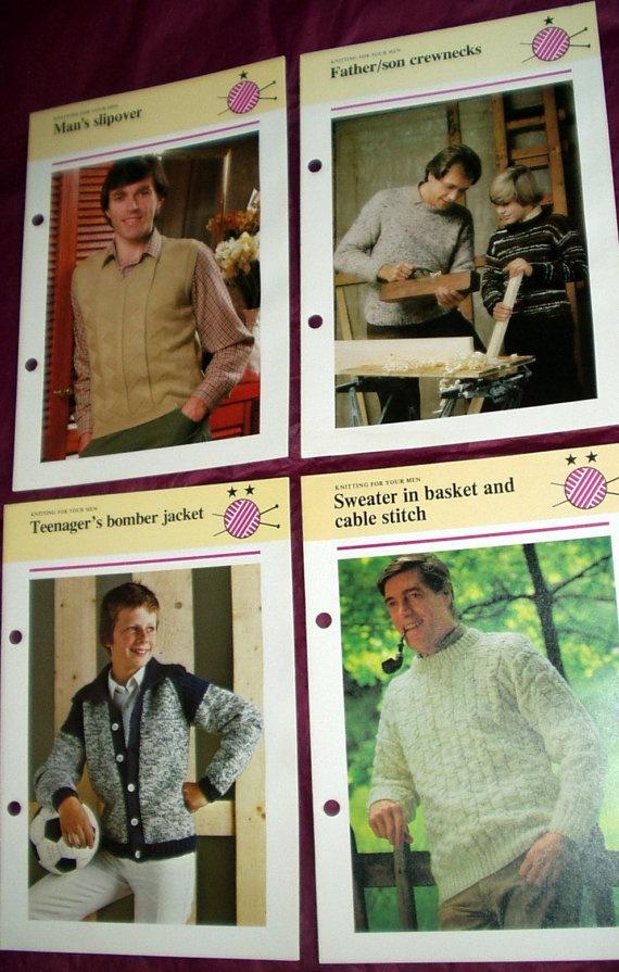 1980s knitting patterns Hamlyn vintage fashion for men by LinniR, £2.50