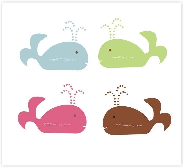 whale clip clipart silhouette digital whales petit