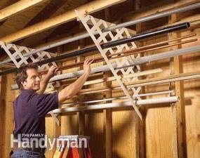 Plastic lattice for long light stuff. Garage Storage: DIY Tips and Hints | The Family Handyman