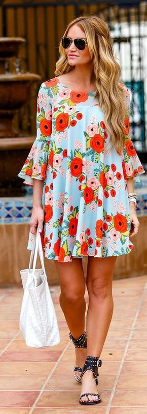 @roressclothes closet ideas #women fashion outfit #clothing style apparel Pale Blue Dress with Flowers via