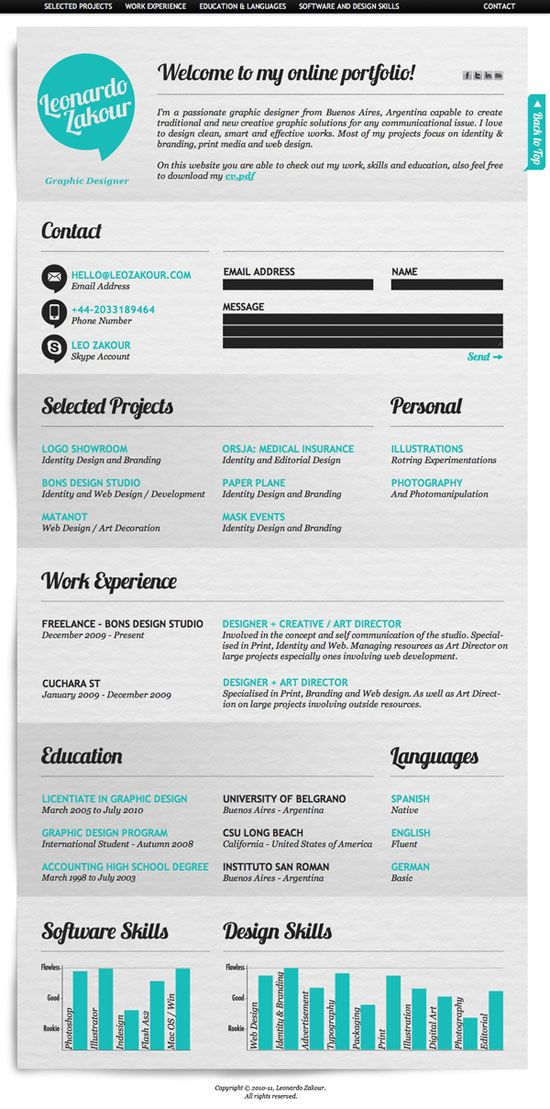 30 best Resumes for Creative Fields images on Pinterest - resumes
