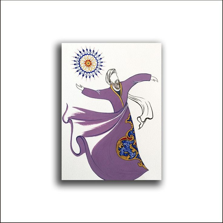 Original Painting Whirling Dervish Sufi Dance Rumi Miniature - AESMPS0052