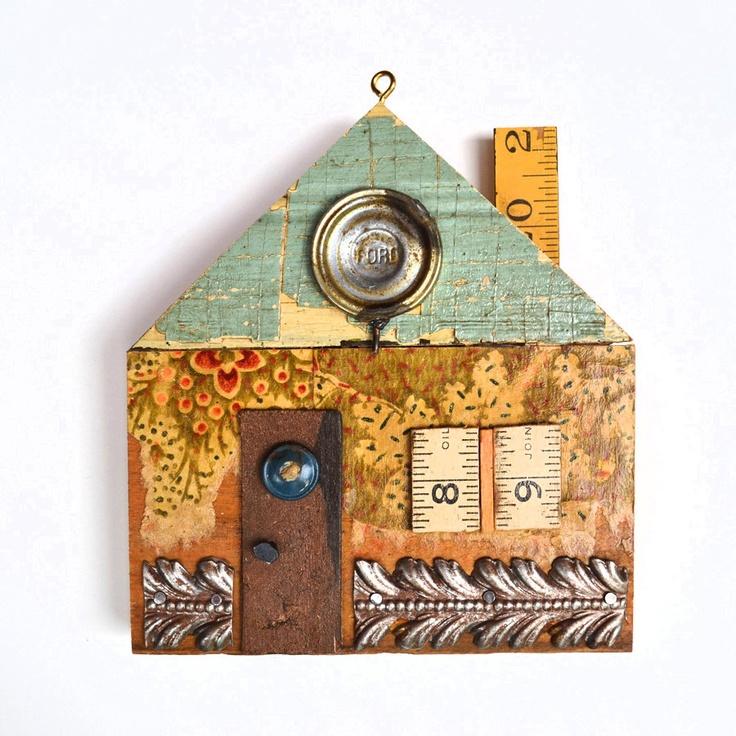 mixed media wood assemblage little house clock tower ORIGINAL ORNAMENT  by Elizabeth Rosen
