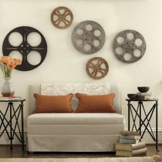 Love this use of vintage film reels!