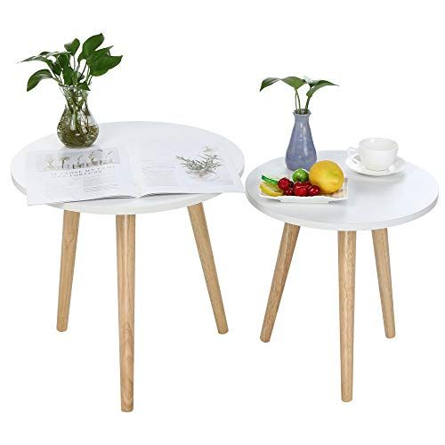 Harpi Minimalist Modern Coffee Table White Nesting Tables Set Of 2