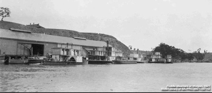 The wharf at Morgan, South Australia in operation, located on the North-West Bend.