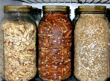 Keep your pantry organized by storing herbs, nuts, and seeds in Ball jars...wow.  Storing food in Ball jars.  Next someone will try preserving food in them.