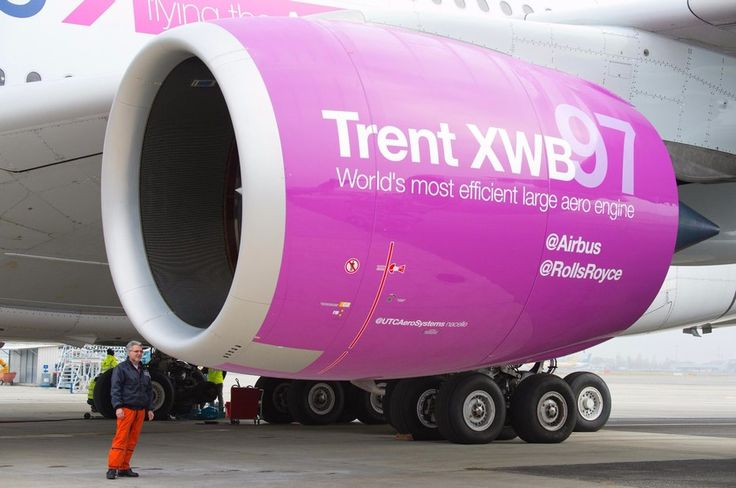 The Rolls-Royce Trent XWB-97 with person to scale