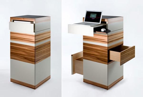 Compact office for the home. what a great idea for small spaces! When not in use its a display piece, and then an office compactum, love it.  http://cdn.decoist.com