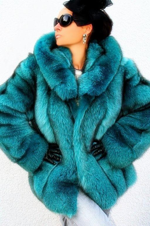 Dyed fox fur jacket