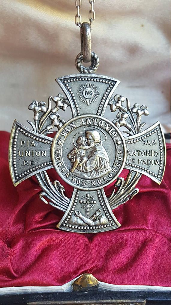 Antique+Spanish+Saint+Anthony+Medal+Pendant+Pope+Leo+XIII