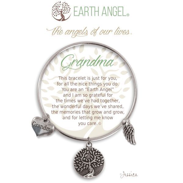 """Grandma Earth Angel Bangle - Silver - Earth Angels is a beautiful line of expandable charm bracelets created to thank, recognize and celebrate all the """"Earth Angels"""" who have positively impacted our lives. Each bangle comes in an gift box making it the perfect gift for your """"angel""""."""