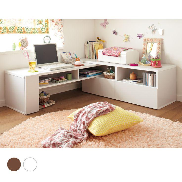 伸縮パソコンデスク Another desk made of wood, white, small, and cute!