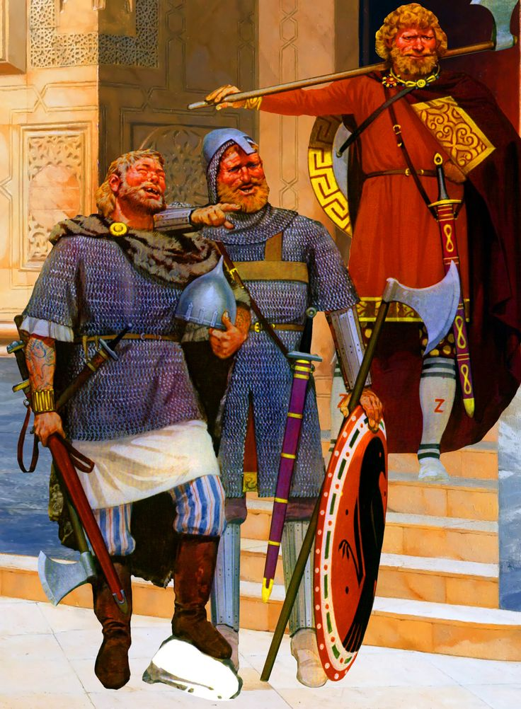byzantine varangian guardsmen with a rus mercenary