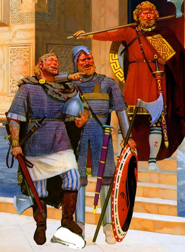 Byzantine Varangian Guardsmen With A Rus Mercenary