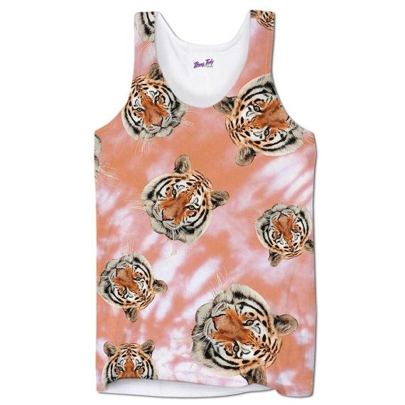 Tiger Face Pink Tank Top Mens All Over Animal Print Sublimation Holiday Festival Gym Vest