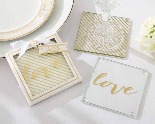 Glass Love Coaster Wedding Favor Set Of