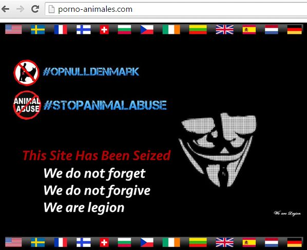 Anonymous hackers have started a new operation under the banner of #OpNullDenmark and #OpBEAST. The purpose of this operation is to raise awareness about animal-cruelty and websites promoting beastlity content (sexual relations between a human being and a lower animal).  Though the operation is more active on Twitter, but some Anonymous hackers decided to target such websites with DDoS and defacement.