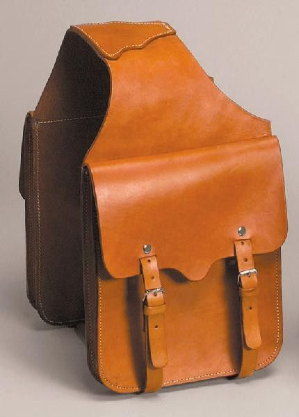 Brown Leather Horse Bikers Motorcycle Saddle Bags