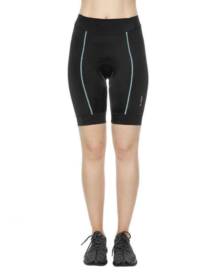 LAMEDA Women's Gel Padded Cycling Shorts Elastic Waist Bike Shorts Size Large Black&Blue. HIGH PERFORMANCE FABRIC. This women bike shorts is made in 82% Polyamide and 18% Spandex fabric that stretch in all directions. The high quality offers light compression which is essential to help prevent injury while cycling. This will be also helpful for performance of breathability and comfort. You will feel very cool even if you ride in summer. 3D CUTTING DESIGN. The spandex content combined with...