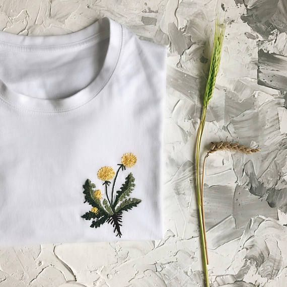 Floral embroidery custom t-shirt, Personalized gift, Clothing, Botanical custom hand embroidered t-shirt, Christmas gift ideas, gift for her