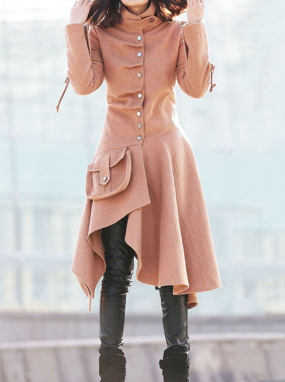 Asymmetrical Swing Coat - Woman Jacket in Light Brown Buttoned Flared with Cinched Waist and Large Pocket Detail  C180