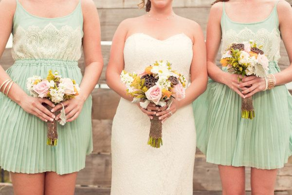 minty pleated bridesmaid dresses from http://www.modcloth.com/  Photography by http://stephiejoy.com: Mint Green, Blushes Pink, Color, Mint Bridesmaid Dresses, Bridesmaids Dresses, Blush Pink, Lace Bridesmaids, Cute Bridesmaid Dresses, Lace Bridesmaid Dresses