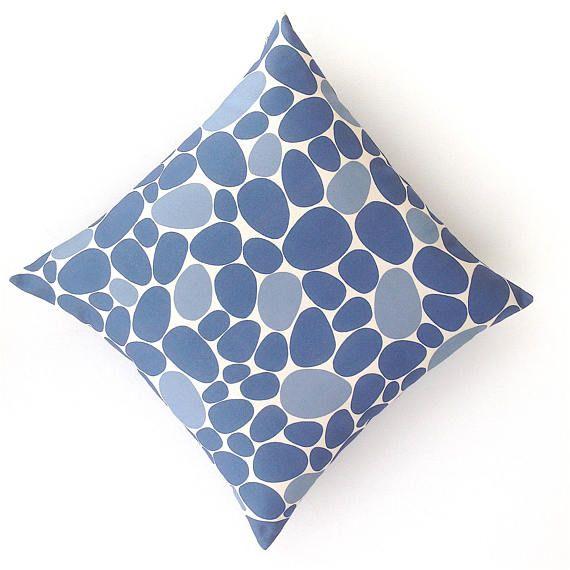 Blue Cushion Cover. Blue and Cream Geometric Cushion. Textured