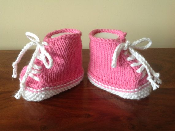 Pink Baby SneakersBaby TrainersBaby Tennis by Pinknitting on Etsy