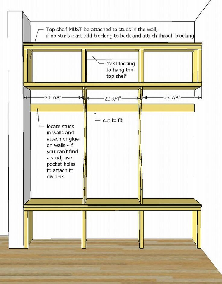Easy and cheap mudroom lockers with bench plans