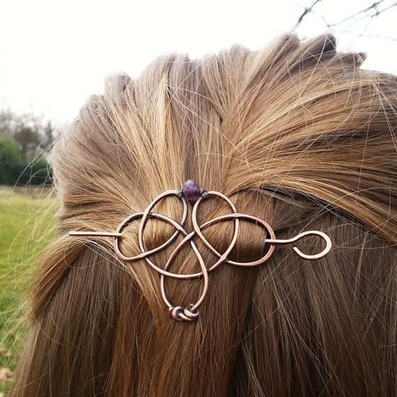 Metal hair clip Celtic knot hair slide Boho hair by GingeryStones