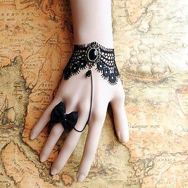 a mano di pizzo nero retrò braccialetto stile classico lolita con set di prua ad anello del 2016 a €5.87