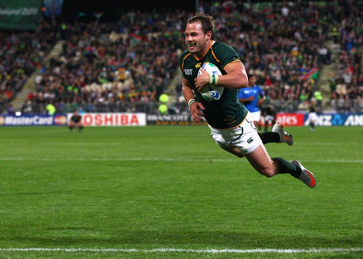 Francois Hougaard of South Africa goes over to score his second and the Springnoks twelfth try during the IRB 2011 Rugby World Cup Pool B match between South Africa and Namibia at North Harbour Stadium on September 22, 2011 in Auckland, New Zealand.