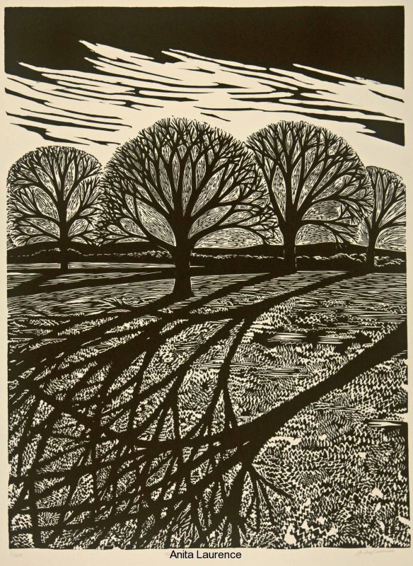 Anita Laurence, Winter II, Linocut.