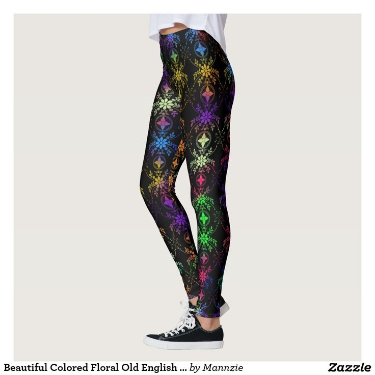 Beautiful Colored Floral Old English Designed Leggings