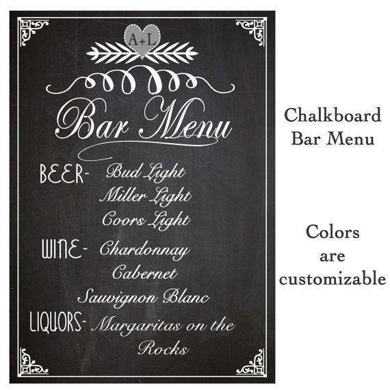 Wedding SIGN Drink BAR Menu Chalkboard-rustic sign Reception-Digital Print-DIY Printable File04 Printable Art, jpg