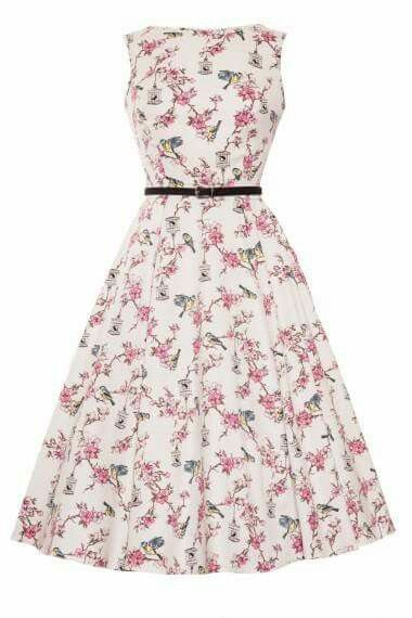 Audrey bird print dress from Elsie's Attic. Perfect for a summer occasion.