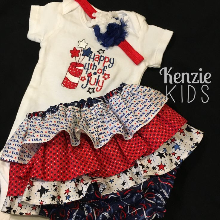 Fourth of July custom outfit with ruffle bum shorts/ diaper cover by Kenzie Kids Boutique