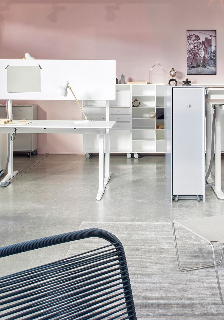 Montana showing office furniture and interiors at the 2016 Orgatec fair. The Panton One chair, shelving, HiLow Tables and the Cargo storage module. #montana #furniture #danish #design #workspace #interior