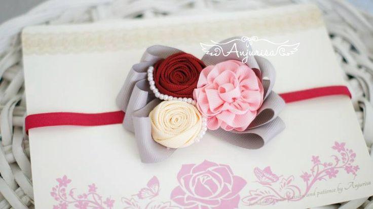 Grosgrain ribbon rosette rose rosebud baby headband