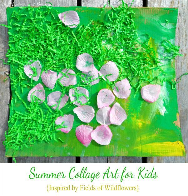 Summer collage art for kids. A gorgeous process-based art activity inspired by fields of wildflowers.