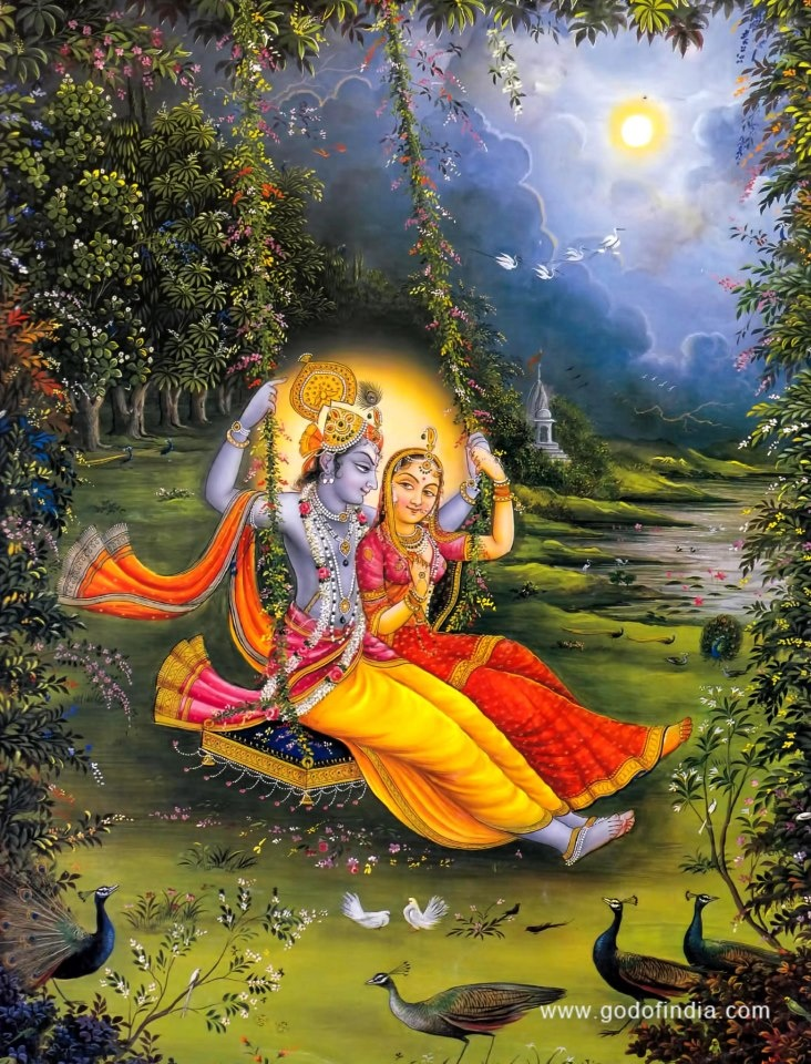 radha and krishna playing on a swing religious