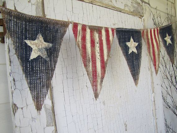 Ready to ship....Size MED. Primitive Olde American Flag, Patriotic, July 4th, Old Glory, USA, Painted Burlap Banner, Flag, Bunting, Pennant via Etsy