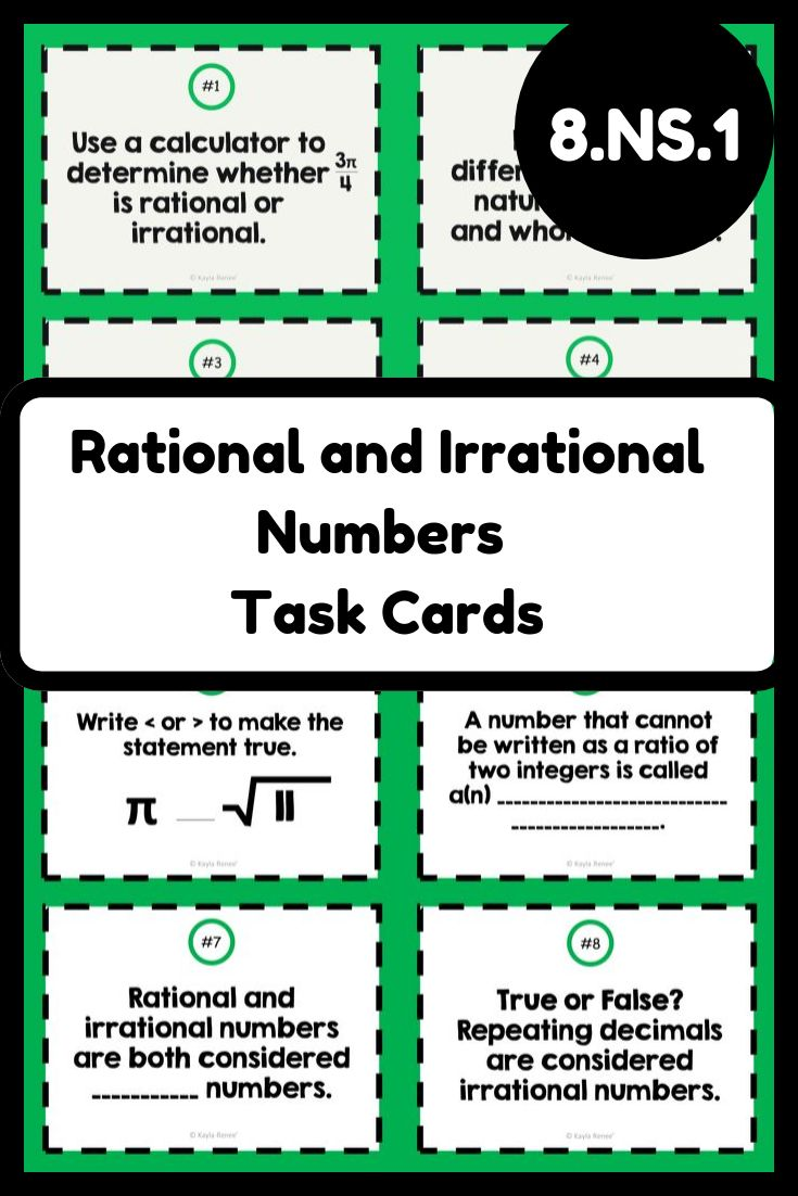 Rational and Irrational Numbers Task Cards 8.NS.1 Task