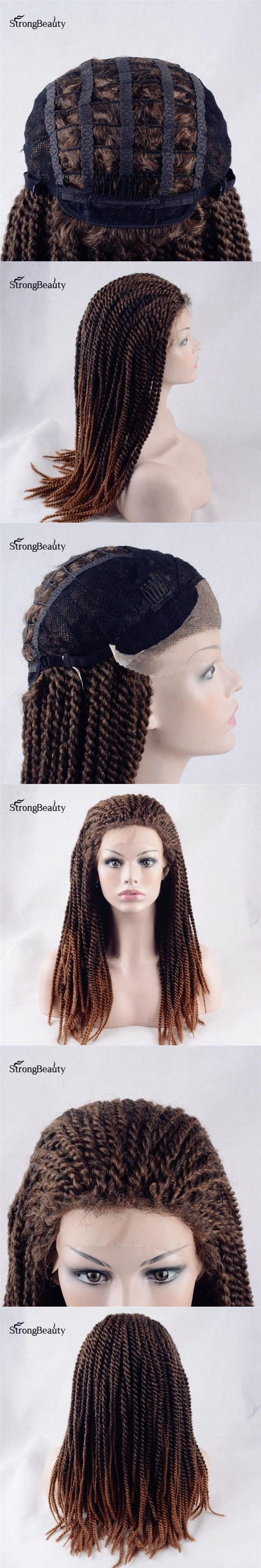 Strongbeauty Afro Twist Braided Wig Synthetic Heat Resistant Ombre Brown mix Auburn Two Tone Lace Front Wigs for Black Women