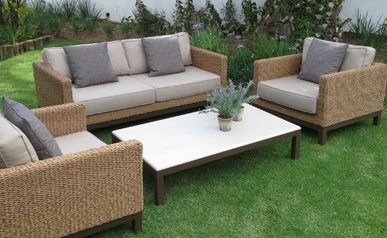 Harmony Classic- Water Hyacinth Weave. Powder Coated Aluminum, UV stabilized Polycane and Fabric. Outdoor Patio Furniture. Removable Cushions. Outdoor Covers Available. Customizable Frame, Fabric and Polycane Colors.