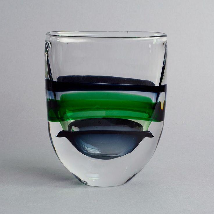 Glass vase by Nils Landberg for Orrefors